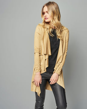 Suedette (suede) Waterfall Jacket by Parisian