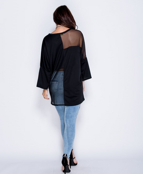 Mesh Panel Batwing Oversized Top by Parisian