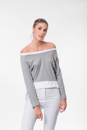 asymmetric paneled blouse