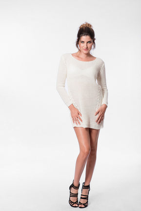 Cable knit round neck jumper dress