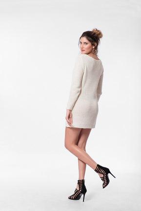 Cable knit round neck jumper dress by Parisian