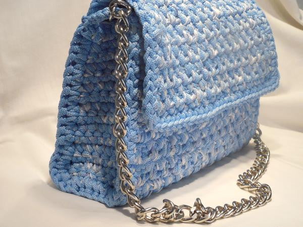 Crocheted shoulder sky blue bag with chain