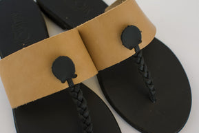 Leather sandals with braided strap