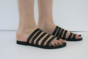 Greek strappy black leather sandals