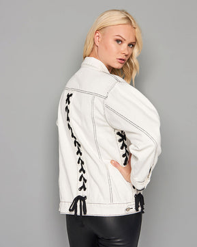 White lace-up jacket