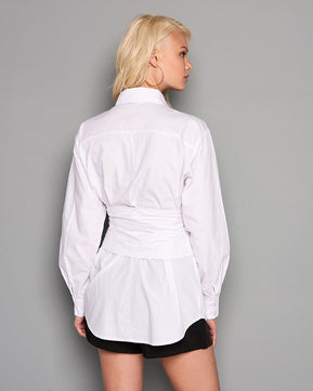 Curve Pin-Stripe Corset Shirt by Glamorous