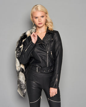 Leather Look Detail Biker Jacket