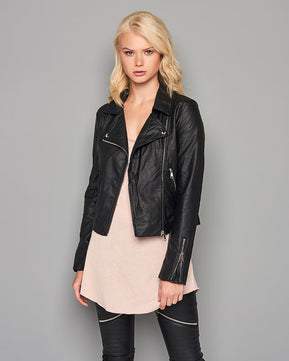 Leather Look Detail Biker Jacket by Glamorous
