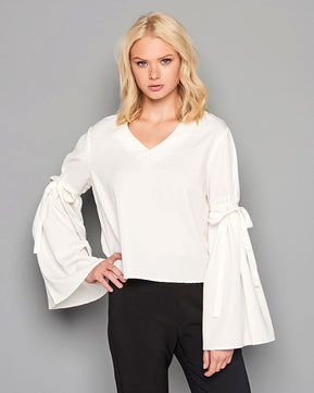 White top with bell sleeve
