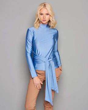 Blouse with bow belt