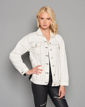 White lace-up jacket by Glamorous