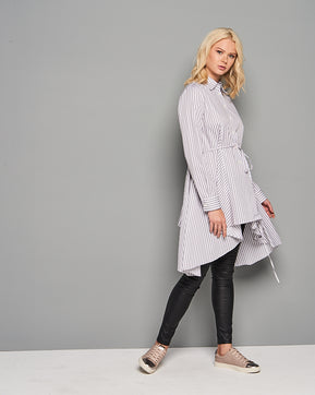 Long striped asymmetric tunic shirt by Add Loft
