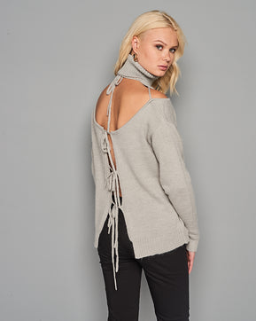Long Sleeve knitted ripped Sweater