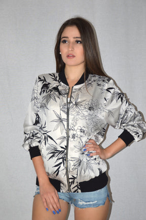 Bomber jacket floral patterned