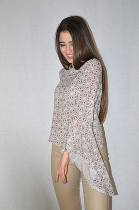 Printed top with bell sleeves by AddLoft