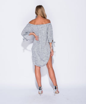 bardot tie sleeve side slit jersey dress