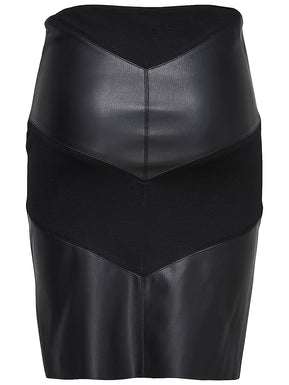 Faux leather mix midi skirt by Only