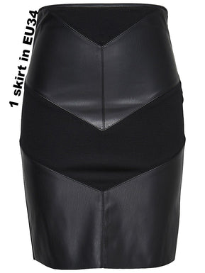 Faux leather mix midi skirt