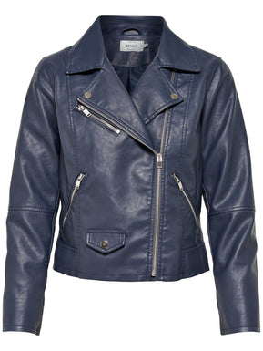 Cropped Faux Leather Jacket - Standard Biker Collar by Only
