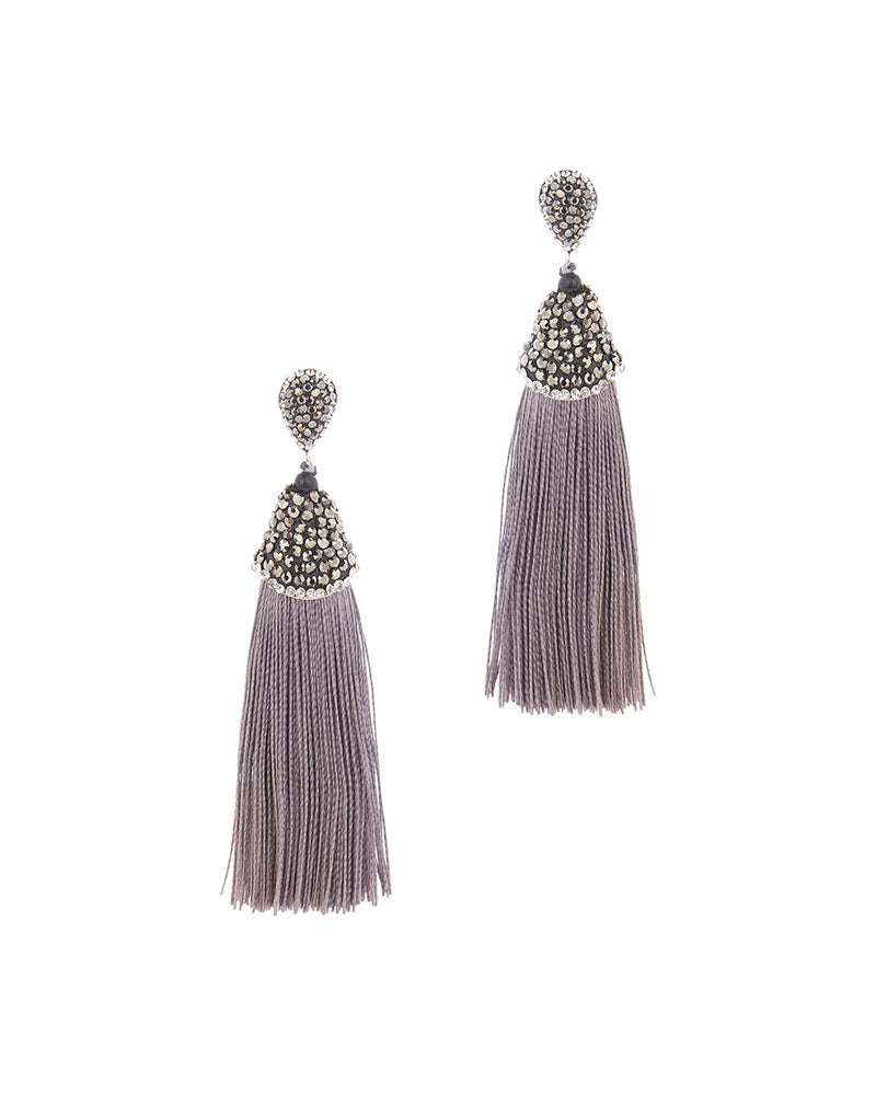 Grey tassel drop earring