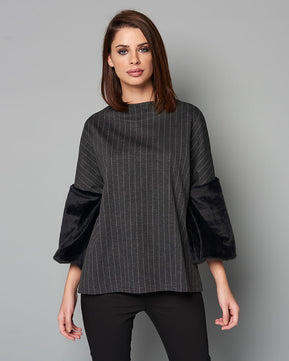 Grey stripped blouse with velvet sleeves by Nejma