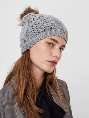 Knitted grey beanie by Only