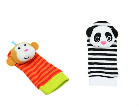 Multicolor Soft Animal Rattles for Hands and Feet