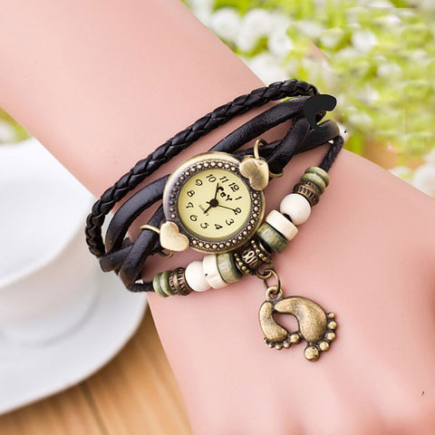 Xiniu Brand Fashion Round Dial Quartz Watch Women Weave Around Leather Footed Wristwatch Luxury Bracelet Watch Relogio Feminino