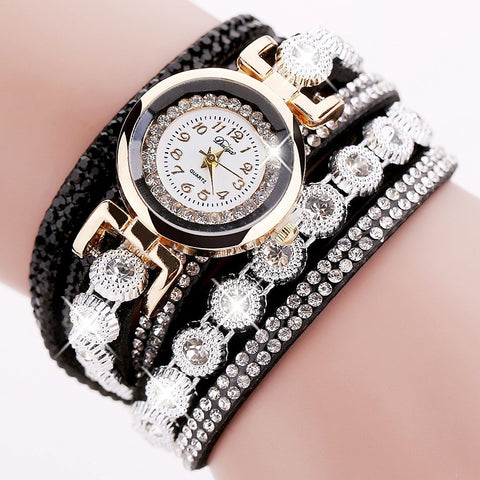 Women Bracelet Watch Crystal Round
