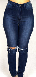 High Waist Blue Denim Jean With Knee and Butt cut-out