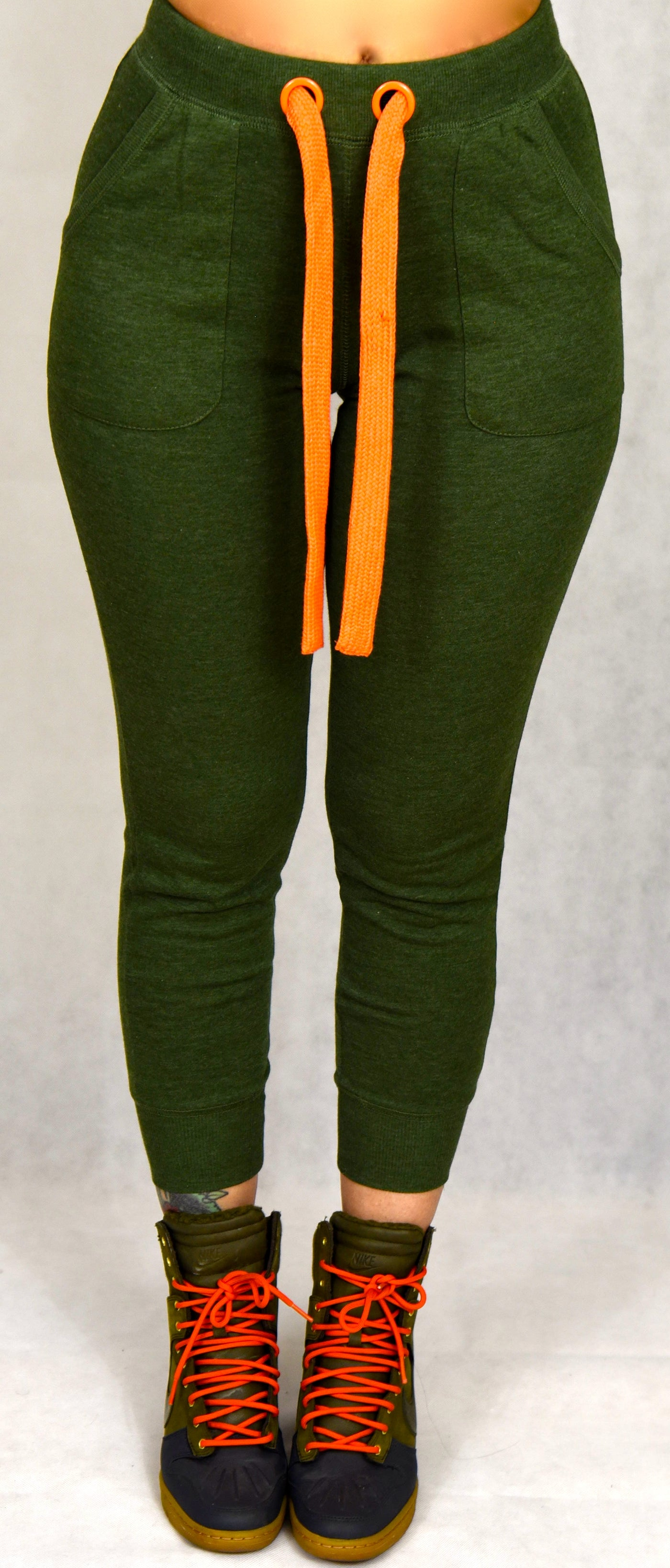 Green Joggers with Orange Waist Tie