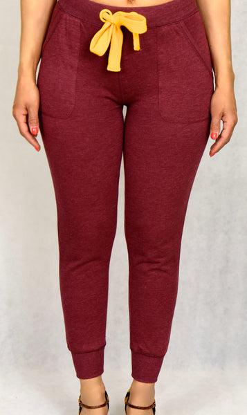 Burgundy Jogger with Yellow Waist Tie