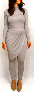 Grey 2 piece pants set with attached wrap