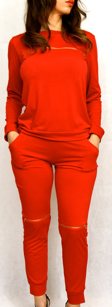 Red Two-Peice Jogging Suit with Gold Zipper