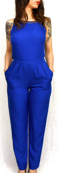 Royal Blue Overall Sleeveless Jumpsuit