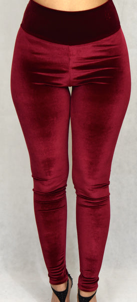 Burgundy Velvet High Waist Legging