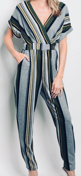 Gray & Olive Stripe Jumpsuit
