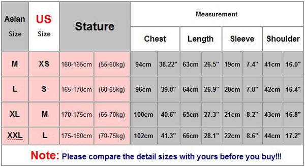 Asian size chart 390127 large