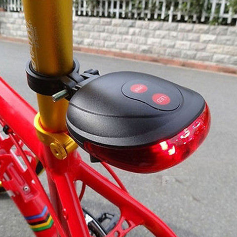 5 LED 2 Laser Safety Bike Light 7 Flasher Modes