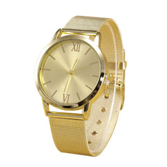 Geneva Womens Stainless Steel Mesh Quartz Wristwatch