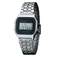 Vintage Digital Alarm Stopwatch Wristwatch Stainless Steel