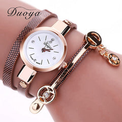 Duoya Gold Bracelet Leather Wristwatch