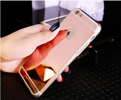 Ultra Slim Shiny Mirror Back Cover Clear Silicone Edge Soft Case For iPhone 5S