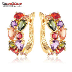 LZESHINE Multicolor Flower Rose Gold Plate Cubic Zirconia Earrings