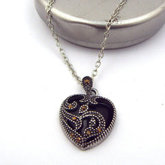 Womens Silver Blue Black Marcasite Turquoise Heart Pendant Necklace