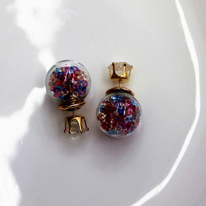 Aros Boucle d'Oreille Gold Australian Crystal Pearl Stud Earrings 5 Colors