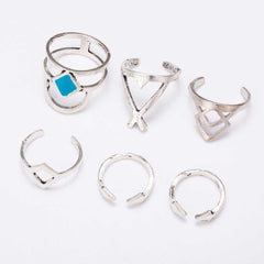 Vintage Bohemian Silver Blue Turquoise Stackable Ring Set 6pcs