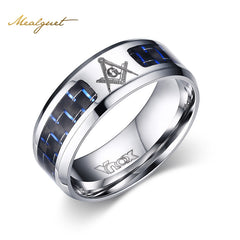 Masonic Blue & Black Carbon Fiber Stainless Steel Ring