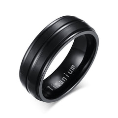 Vnox 8mm Black Titanium Carbide Mens Ring