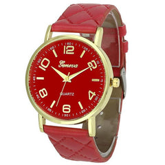 Geneva Womens Faux Leather Analog Quartz Wristwatch